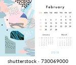 calendar 2018. february. ... | Shutterstock .eps vector #730069000
