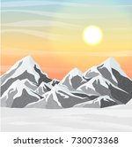 winter vector landscape with... | Shutterstock .eps vector #730073368