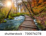 majestic touristic wooden... | Shutterstock . vector #730076278