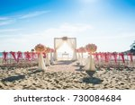 romantic wedding setting on the ...   Shutterstock . vector #730084684