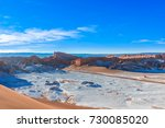 view on moon valley and volcan...   Shutterstock . vector #730085020