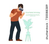 man in device for virtual... | Shutterstock .eps vector #730088389