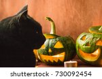 black cat and halloween... | Shutterstock . vector #730092454