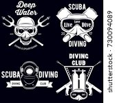 set of scuba diving club and... | Shutterstock .eps vector #730094089