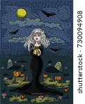 the witch stands in the...   Shutterstock .eps vector #730094908