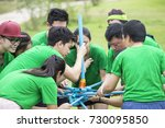Small photo of RATCHABURI THAILAND - JUN 12, 2015 : Young people playing on a team for Team building on June 12, 2015 in Ratchaburi, Thailand