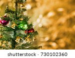 decorated christmas tree  with... | Shutterstock . vector #730102360