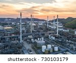 aerial view oil refinery... | Shutterstock . vector #730103179