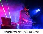dj is rhythm music with... | Shutterstock . vector #730108690
