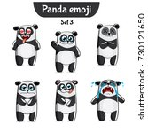 vector set of cute panda... | Shutterstock .eps vector #730121650