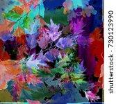 watercolor oak branch on a... | Shutterstock . vector #730123990