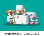 pile of paper documents and... | Shutterstock .eps vector #730129819
