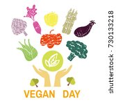 world vegan day. template... | Shutterstock .eps vector #730133218