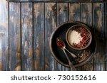 bowl of milk cereal porridge... | Shutterstock . vector #730152616