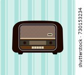 old retro radio player. vector... | Shutterstock .eps vector #730153234