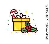 vector line style christmas... | Shutterstock .eps vector #730161373