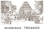 sketch of konark sun temple...   Shutterstock .eps vector #730166524