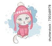 illustration of cute kitten ... | Shutterstock .eps vector #730168978