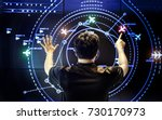 back of man control airviation... | Shutterstock . vector #730170973