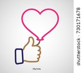 thumb up icon with pink heart... | Shutterstock .eps vector #730171678