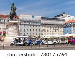 Small photo of Lisbon, Portugal - August 12, 2017: Tuk Tuk taxi cabs of Lisbon stand on a city square with tourists as a passengers. Piaggio Ape three-wheeled light commercial vehicles