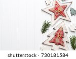 christmas greeting card with... | Shutterstock . vector #730181584
