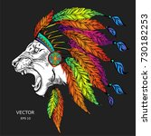lion in the colored indian... | Shutterstock .eps vector #730182253