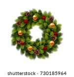 christmas wreath with balls on... | Shutterstock .eps vector #730185964