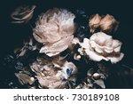 bouquet of pink peonies  dark... | Shutterstock . vector #730189108