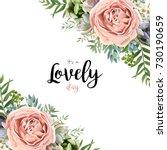 Stock vector vector floral card frame bouquet design with garden pink peach lavender rose wax flower eucalyptus 730190659