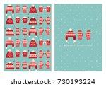 merry christmas cute card... | Shutterstock .eps vector #730193224