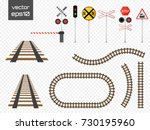 isolated vector rails set with... | Shutterstock .eps vector #730195960