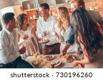 group of friends party together ... | Shutterstock . vector #730196260