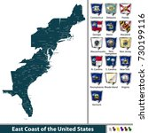 vector set of east coast of the ... | Shutterstock .eps vector #730199116