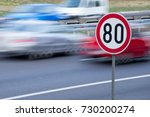 speed limit sign with car... | Shutterstock . vector #730200274