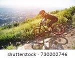 a rider in a helmet is riding...   Shutterstock . vector #730202746