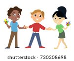 international happy and smiling ... | Shutterstock .eps vector #730208698