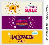 halloween banners design set... | Shutterstock .eps vector #730209988