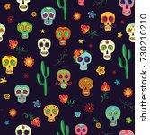 vector pattern mexican sugar... | Shutterstock .eps vector #730210210
