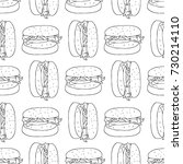 burger illustration. hand drawn ... | Shutterstock . vector #730214110