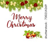 merry christmas card with... | Shutterstock .eps vector #730214269
