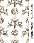 pattern with gold baroque... | Shutterstock .eps vector #730215328