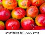 Lot Of Red Fresh Mango Fruits....