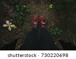 women's legs in red boots... | Shutterstock . vector #730220698