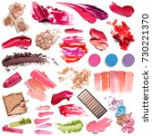 set of lipstick  eye shadow and ... | Shutterstock . vector #730221370