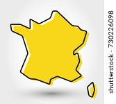 yellow outline map of france ... | Shutterstock .eps vector #730226098