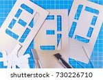 stencil in table photo for your ...   Shutterstock . vector #730226710