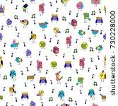 cartoon colorful little birds... | Shutterstock .eps vector #730228000