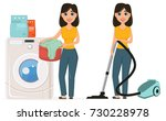 housewife washes clothes in the ... | Shutterstock .eps vector #730228978