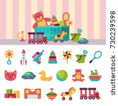 kids toys box vector... | Shutterstock .eps vector #730239598